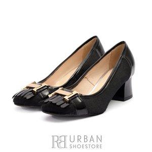 Pantofi eleganti dama din piele naturala cu franjuri - 418-9 Negru Par cu Lac