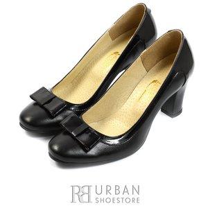 Pantofi eleganti dama din piele naturala cu fundita - 720 negru