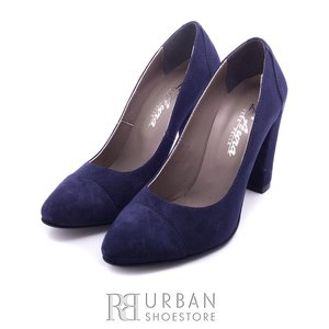 Pantofi eleganti dama din piele naturala  - F51 blue velur