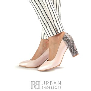 Pantofi eleganti dama din piele naturala ,Leofex - 786 Nude Box Sarpe