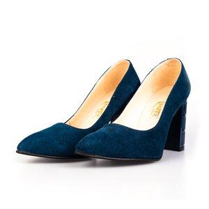 Pantofi eleganti dama din piele naturala, Leofex- 853 Navy velur