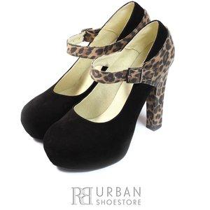 Pantofi eleganti dama din piele naturala - P3 negru leopard velur