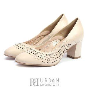 Pantofi eleganti dama perforati din piele naturala - 541-17 Bej