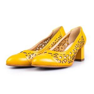 Pantofi eleganti dama  perforati din piele naturala  - 728 galben box