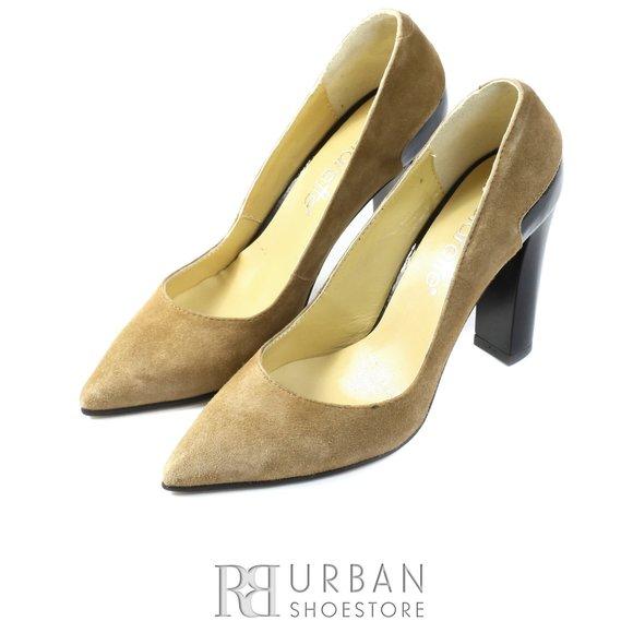 Pantofi eleganti din piele intoarsa si lac - 945 bej