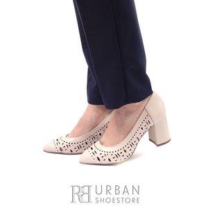 Pantofi eleganti din piele naturala - 0490-2 Bej Box
