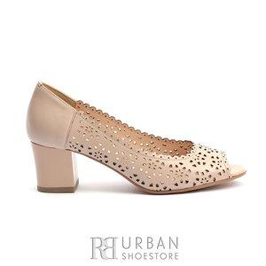 Pantofi eleganti din piele naturala - 055-6 nude box perforat