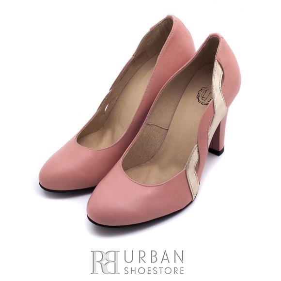 Pantofi eleganti din piele naturala - 0642-9 roz