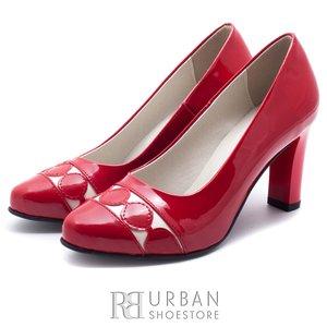 Pantofi eleganti din piele naturala - 065 Rosu