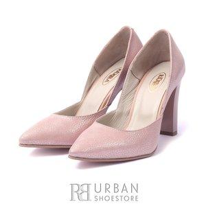 Pantofi eleganti din piele naturala - 145 Roz box sidefat