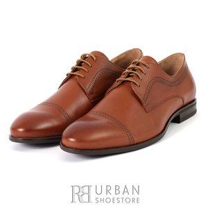 Pantofi eleganti barbati din piele naturala, Leofex - 932 cognac box