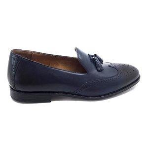 Pantofi eleganti din piele naturala cu ciucuri- 527 Blue Box