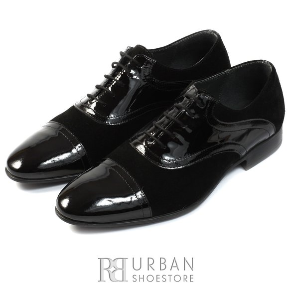 Pantofi eleganti din piele naturala lacuita si velur - 120 negru