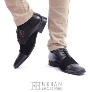 Pantofi eleganti din piele naturala si velur - 509 Negru Box Velur