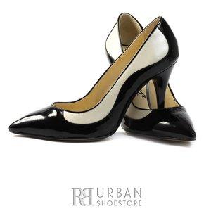 Pantofi eleganti stiletto din piele naturala - 1598 negru bej
