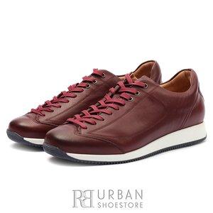 Pantofi sport barbati din piele naturala cu siret pana in varf, Leofex - 517 Visiniu Box