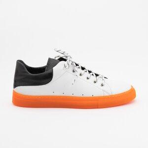 Pantofi sport barbati din piele naturala, Leofex - 882 Alb cu Negru Box