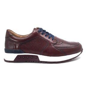 Pantofi sport barbati din piele naturala,Leofex - Mostra 519-1 Visiniu Box