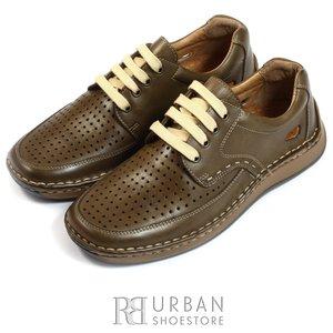Pantofi sport-casual din nabuc perforati - 759 maro