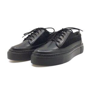 Pantofi sport dama din piele naturala,Leofex - 201 negru box+velur