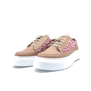 Pantofi sport dama din piele naturala,Leofex - 201 taupe box