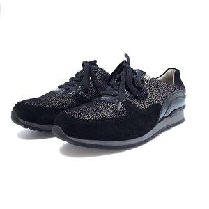 Pantofi sport dama din piele naturala, Leofex - 235 Negru velur+lac