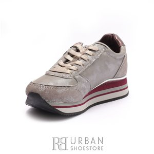 Pantofi sport dama din piele naturala si piele ecologica Wrangler-182630 Gri Sclipici