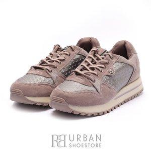 Pantofi sport dama din piele naturala si piele ecologica Wrangler-182641 Roz Velur cu Gri Metalizat