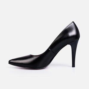 Pantofi stiletto dama din piele naturala - 173 Negru box