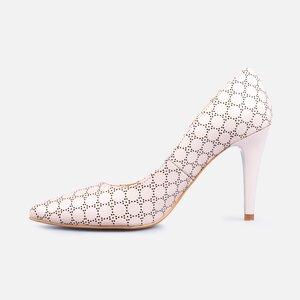 Pantofi stiletto dama din piele naturala - 173 Roz pudra box perforat