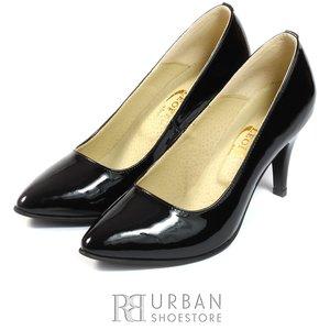 Pantofi stiletto din piele lacuita - 558 negru