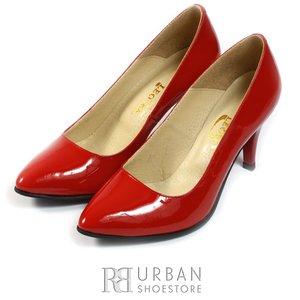 Pantofi stiletto din piele lacuita - 558 rosu