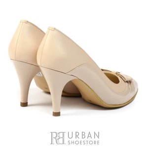 Pantofi stiletto din piele lacuita si box - 712 nude
