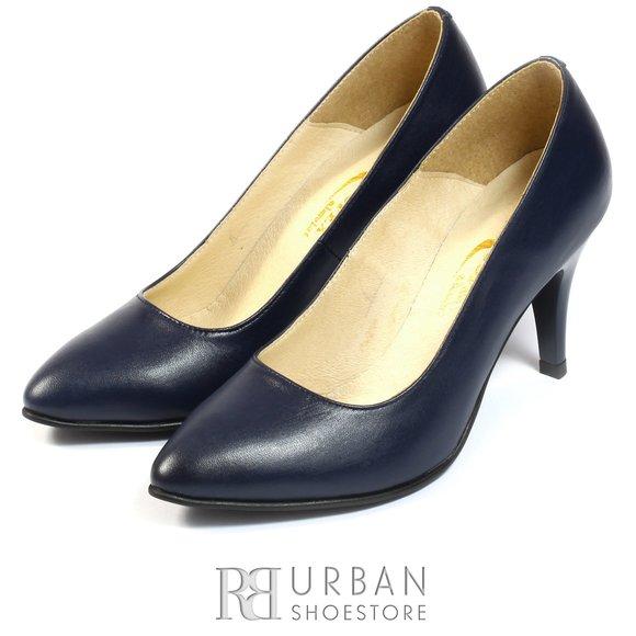 Pantofi stiletto din piele naturala - 558 blue