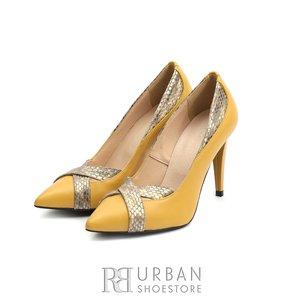 Pantofi stiletto din piele naturala - 597-13 Galben Sarpe Box