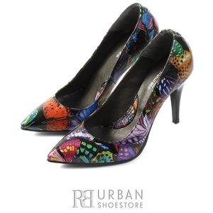 Pantofi stiletto din piele naturala - 597 negru floral