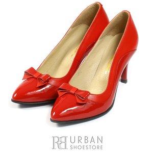 Pantofi stiletto din piele naturala si lacuita - 712 rosu