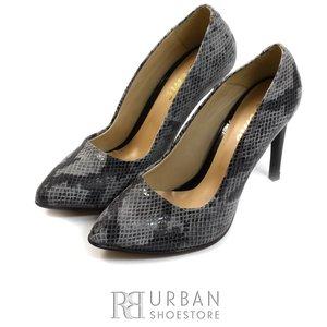 Pantofi stiletto lac - 733 gri sarpe