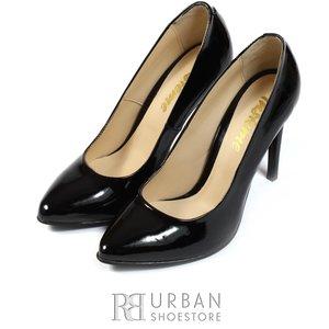 Pantofi stiletto lac - 733 negru