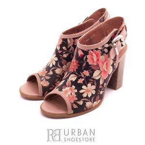 Sandale cu toc dama din piele naturala, Leofex - 033 flori