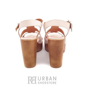 Sandale cu toc dama din piele naturala, Leofex - 041 bej