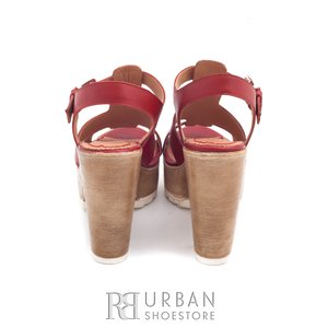 Sandale casual din piele naturala - 041 rosu