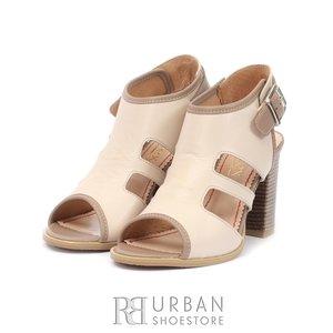 Sandale cu toc dama din piele naturala, Leofex - 111 Bej