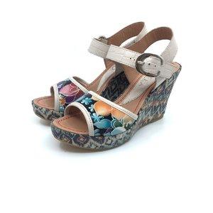 Sandale casual din piele naturala- Mostra bej flori
