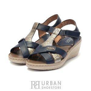 Sandale cu platforma dama din piele naturala Leofex- 214 Blue Box