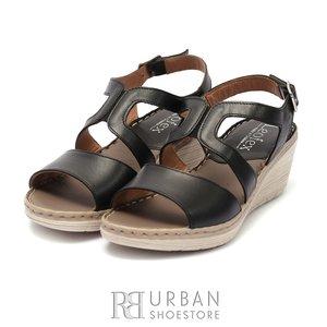 Sandale cu platforma dama din piele naturala Leofex- 232 Negru Box