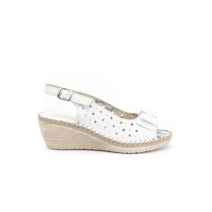 Sandale cu platforma dama, perforate din piele naturala, Leofex - 259 Alb box
