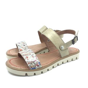 Sandale cu talpa joasa dama din piele naturala - 043 mozaic cu taupe