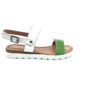 Sandale cu talpa joasa dama din piele naturala, Leofex - 043 alb cu verde