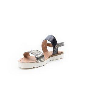 Sandale cu talpa joasa dama din piele naturala, Leofex - 043 blue box sarpe